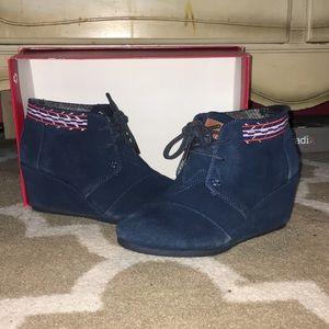 Blue Toms wedge booties